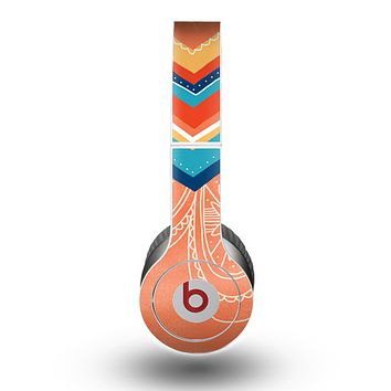 The Orange Dreamcatcher Chevron Skin for the Beats by Dre Original Solo-Solo HD Headphones