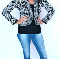 "Macy's Style & Co. ""BAROQUE MATADOR"" Peplum Black White Sweater Bolero Jacket"