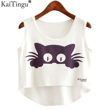 Graphics Printed Cropped Tank Tops for Women