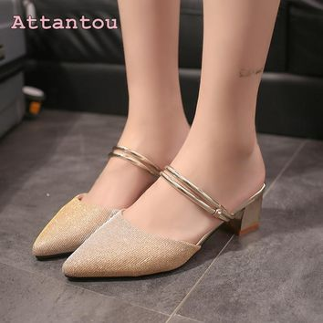 Two wear sandals female summer new pointed single shoes female middle gold banquet high heels cool slippers shoes