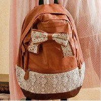 Ribbon Bowknot Lace Backpack by adalia on Zibbet