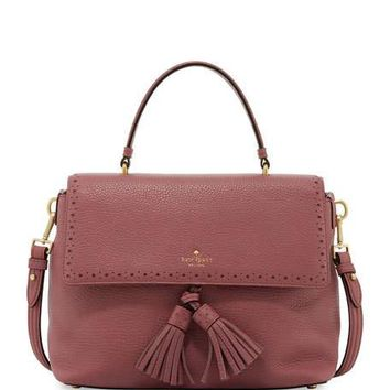 kate spade new york james street sparrow leather satchel bag, rich rum raisin