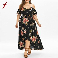 Women Maxi Dress Short Sleeve Cold Shoulder Boho Flower Print Summer Long Dress