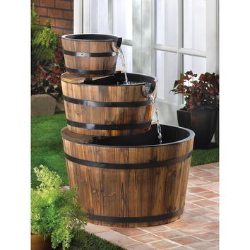 Wooden 3 Tier Apple Barrels Outdoor Water Fountain | SAVE $60
