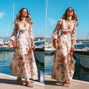 2019 Flora Printed Long Sleeve Summer Beach Boho Party Dress Holiday Gowns Long Sexy Deep V Neck Bohemian Style 2343
