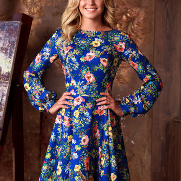 Blue floral summer dress with long sleeve, bohemian sun dress, womens casual summer dresses, Short summer dress , knee length blue dress