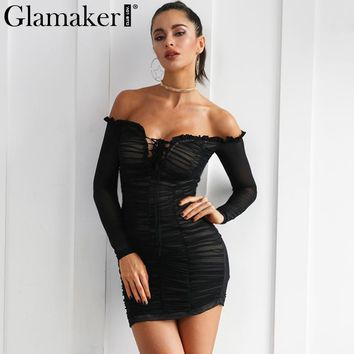 Glamaker Off shoulder transparent sexy dress women Lace up see through fitness ruffle dress Casual long sleeve mini mesh dress