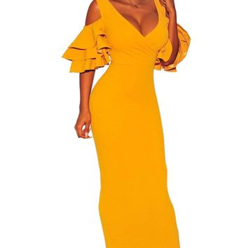 Mustard Tiered Sleeve Cold Shoulder Bodycon Dress