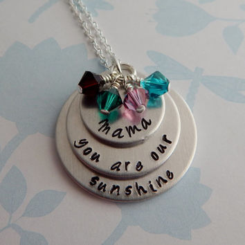 you are our sunshine / Hand Stamped Personalized Necklace / Mother's Day Gift / Mom Necklace / Grandmother Necklace