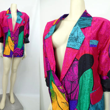 Vintage 1980s Picasso Rainbow Collection XL plus size Miami Vice jacket Shoulder pads bright colors satin Oversize