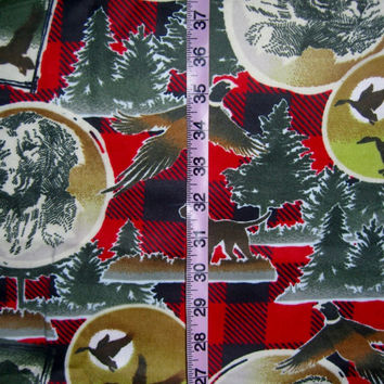 Flannel fabric with dog Labrador Retriever Golden hunting duck  pheasant cotton quilt quilting sewing material to sew for crafts by the yard