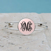 Personalized Light Pink Monogram Pendant Necklace, Pink Monogram Cuff Bangle Bracelet, Bridesmaid Gifts, Gifts for Her,Accessories,Jewlery
