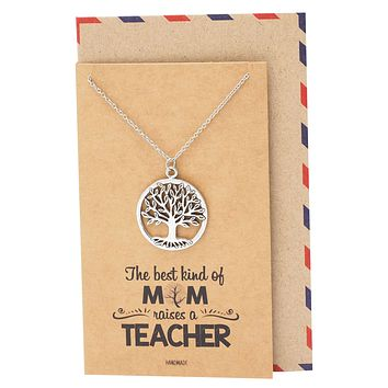 Jovie Tree of Life Necklace, Gifts for Mom Womens Jewelry with Greeting Card
