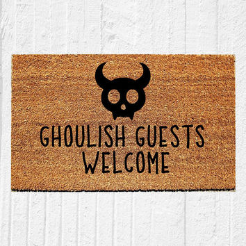 "Ghoulish Guests Welcome | Welcome Mat | Halloween Door Mat | Halloween Decor | Spooky Decor | Fall Decor | Outdoor Rug | 18""x30"" 