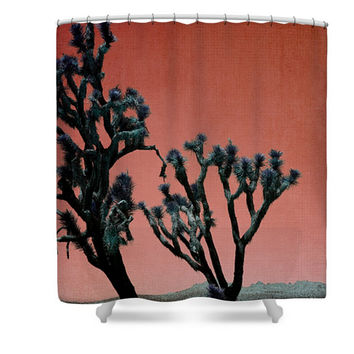 Red Desert Fire Joshua Trees in California Polyester Fabric Shower Curtain