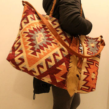 Weekender kilim bag giant oversized blanket rug tote aztec navajo turkish kilim  southwestern southwest gypsy festival weekend bag leather
