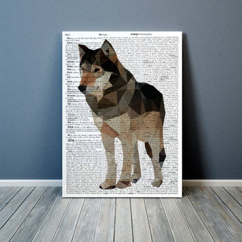 Polygonal poster Wolf art Animal print Colorful decor TOA60-1