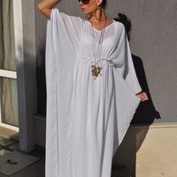 Maxi White Kaftan Dress , Boho Wedding Dress , Beach Cover up , V-neck Chiffon Abaya , Plus size Maternity Dress , Pregnancy Gown
