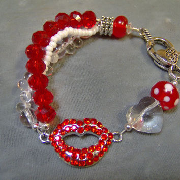 Crystal and Lampwork Beaded Red and White Bracelet - Artisan Jewelry - Valentines Jewelry - Crystal Lips Bracelet Mickey Mouse - Minny Mouse