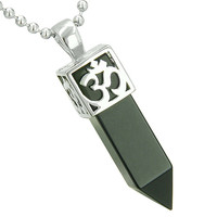 Ancient OM Amulet Magic Powers Crystal Point Lucky Charm Simulated Black Onyx Pendant 18 Inch Necklace