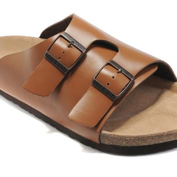 Birkenstock Summer Cork Flats Men's and Women's Casual Sandals Couple Slippers Brown