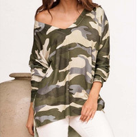 Camouflage T Shirt V-neck Long Sleeves Loose Plus Size Casual Fashion Cotton Sweatshirts [9324245700]