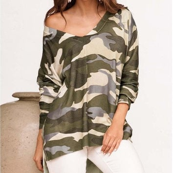Camouflage T Shirt V-neck Long Sleeves Loose Plus Size Casual Fashion Cotton Sweatshirts [8833374156]