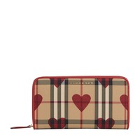 Burberry Elmore Horseferry Check and Hearts Zip-Around Wallet | Harrods