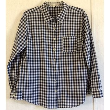 Olive & Oak Checkered Button Up Blouse Dark Blue White Top Shirt Long Sleeve L