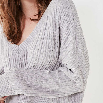 Silence + Noise Slouchy Chenille High/Low V-Neck Sweater | Urban Outfitters