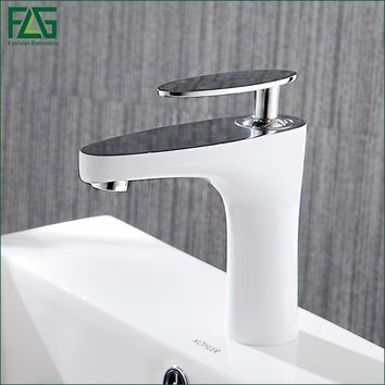 FLG Basin Faucet Grilled White Paint Chrome Finish Bathroom Faucet Single Handle Bathroom Basin Mixer Tap,Free shipping 822-11WC