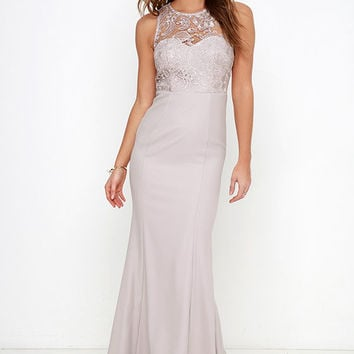 Oak and Elm Taupe Lace Maxi Dress