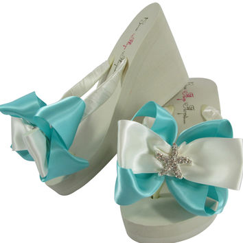 Tiffany Blue & Ivory Starfish High Wedge Flip Flops with Satin Bows