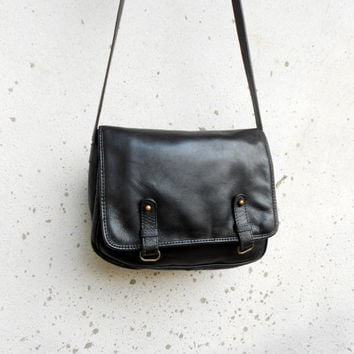 Vintage Black Messenger Bag / Crossbody Bag / Leather Purse / Small - Medium