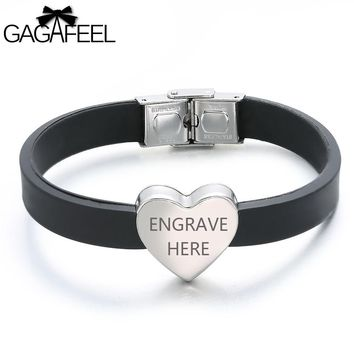 GAGAFEEL Silicone Bracelet Laser Engraving ID Bracelet For Men Women Stainless Steel Lovers Jewelry Bangles With Heart  Shape
