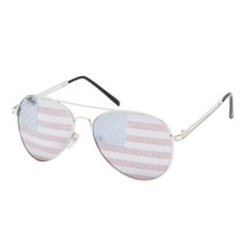 Silver Americana Lens Aviator Sunglasses by Charlotte Russe