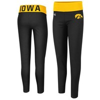 Iowa Hawkeyes Ladies Pivot II Yoga Leggings - Black/Old Gold