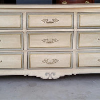 Dresser French Provincial Country French Vintage Shabby Chic Beach Cottage Buffet Changing Table Bathroom Vanity TV Console Thomasville