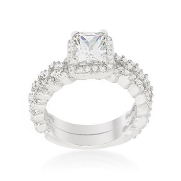 Genna Radiant Halo Engagement and Wedding Ring Set | 4ct | Cubic Zirconia | Silver