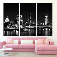large art London canvas print wall art, extra large wall art, canvas gallery art, black and white london skyline night wall art  t248