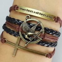 "cross bracelet,""Where there is a will, there is a way""--Antique Bronzen Bracelet -Christmas gift -  Best Chosen Gift"