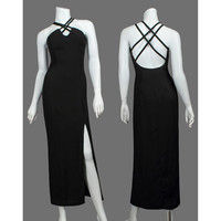 Show Stopper Vintage 90s Evening Gown / 1990s Formal Long Black Dress / Cocktail Party Wiggle Dress / Side Slit Criss Cross Strap / Small S