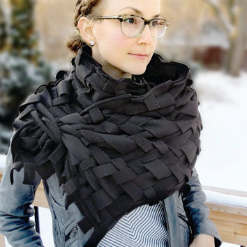 Chunky Scarves, Infinity Scarves, Cowl, Shawl, Chunky Herringbone Weave, Oversized, Fleece, Handmade Infinity Scarf in BLACK by Grey Matter