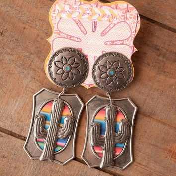 Cactus Serape Sunset Earrings