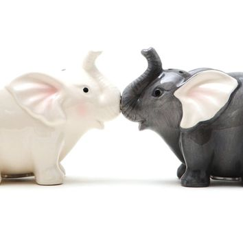 Kissing Elephants Magnetic Salt and Pepper Shaker SET