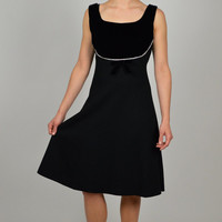 Vintage Dress, Women's Vintage Clothing, Black Dress, Velvet Dress, Wool Dress, Cocktail Dress, Size Small