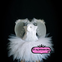Angel Tutu Dress with Wings - for infant, baby, newborn, dance, dress up, photo prop, flower girl, wedding, pageant, birthday, baby shower