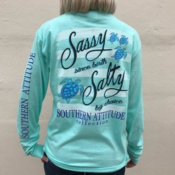 Southern Attitude Mint Turtles Sassy Since Birth Long Sleeve T-Shirt