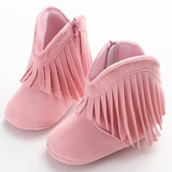 Baby Girls Warm Tassels Baby Shoes Newborns Boots Fashion Snow Boots Toddler Solid Fashion Fringe Boots Winter Warm Shoes