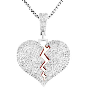 Red Broken Heart Solid Back Iced Out Mini Pendant Chain